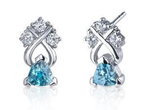 Regal Elegance 1.00 Carats Swiss Blue Topaz Trillion Cut Cubic Zirconia Earrings in Sterling Silver