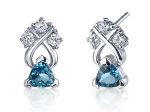 Regal Elegance 1.00 Carats London Blue Topaz Trillion Cut Cubic Zirconia Earrings in Sterling Silver