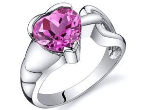 Love Knot Style 2.50 carats Pink Sapphire Ring in Sterling Silver Size  7, Available in Sizes 5 thru 9