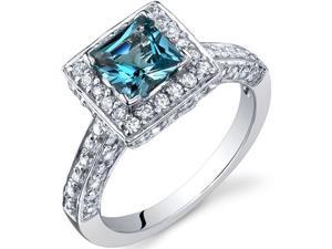 Princess Cut 1.00 Carats London Blue Topaz Engagement Ring in Sterling Silver Size 9