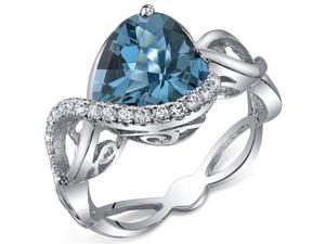 Swirl Design 3.00 Carats Heart Shape London Blue Topaz Ring in Sterling Silver Size 8, Available Sizes 5 to 9