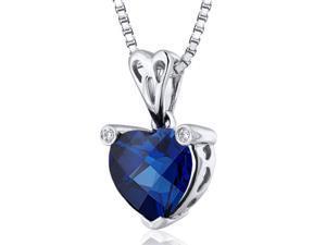Splendid Love 2.50 carats Heart shape Sterling Silver Blue Sapphire Pendant