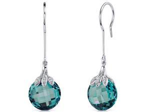 Double Sided Checkerboard Cut 18.00 Carats Alexandrite Dangle Earrings in Sterling Silver Rhodium Finish