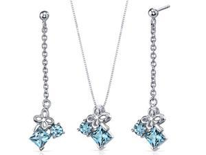 Butterfly Design 3.00 carats Sterling Silver with Rhodium Finish Swiss Blue Topaz Pendant Earrings Set