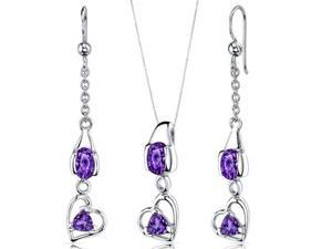 Heart Design 2.25 carats Sterling Silver with Rhodium Finish Amethyst Pendant Earrings Set