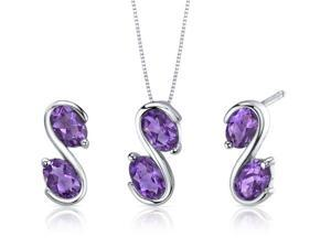 Graceful Elegance 3.00 carats Oval Cut Sterling Silver with Rhodium Finish Amethyst Pendant Earrings Set