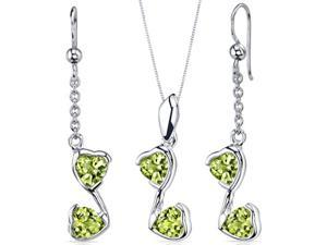 Cupid Duet 3.00 carats Heart Shape Sterling Silver with Rhodium Finish Peridot Pendant Earrings Set