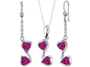 Cupid Duet 3.00 carats Heart Shape Sterling Silver with Rhodium Finish Ruby Pendant Earrings Set