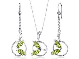 Ornate Circle Design 3.00 carats Sterling Silver with Rhodium Finish Peridot Pendant Earrings Set