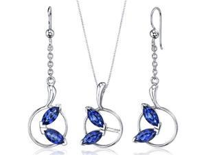 Ornate Circle Design 4.50 carats Sterling Silver with Rhodium Finish Sapphire Pendant Earrings Set