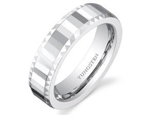 Faceted Mirror Finish 5mm Womens White Tungsten Wedding Band Ring Available in Sizes 5 to 8