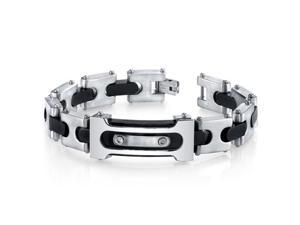 Mens Double Riveted Black Two Tone Stainless Steel Bracelet