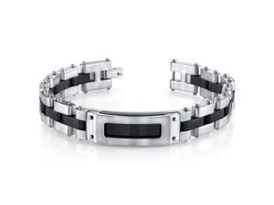 Mens Riveted Industrial Black and Two Tone Stainless Steel Bracelet
