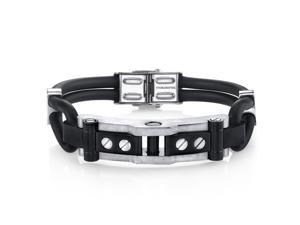 Mens Industrial Design Stainless Steel and Black Silicon Bracelet