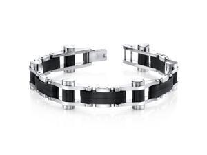 Sleek Sophistication Matte Black Mirror Finish Stainless Steel Mens Bracelet