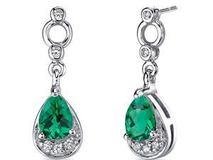 Oravo SE8222 Simply Classy 1.00 Carats Emerald Dangle Earrings in Sterling Silver Rhodium Finish