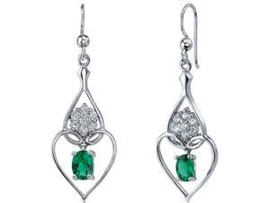 1.50 Ct. Oval Shaped Created Emerald Dangle Earrings in Sterling Silver Rhodium Finish