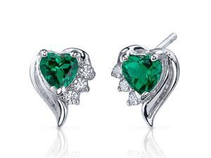 Cupids Grace 1.00 Carats Emerald Heart Shape Earrings in Sterling Silver Rhodium Finish