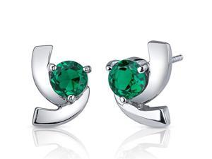 Illuminating 1.50 Carats Emerald Round Cut Earrings in Sterling Silver Rhodium Finish