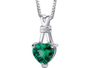 Oravo SP10738 Passionate Pledge: Sterling Silver Rhodium Finish Heart Shape Checkerboard Cut Emerald Pendant with 18 inch Silver Necklace
