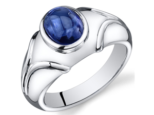 Mens 3.50 Carats Oval Cabochon Blue Sapphire Ring In Sterling Silver With Rhodium Finish Size 8, Available Sizes 8 To 13