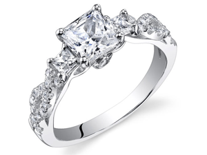 Sterling Silver Princess White Cubic Zirconia Ring