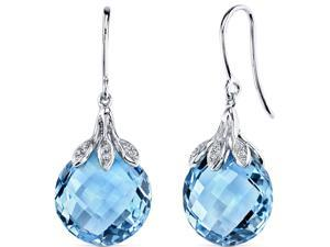 14 Karat White Gold Swiss Blue Topaz Diamond Earrings 16.06 carat total weight