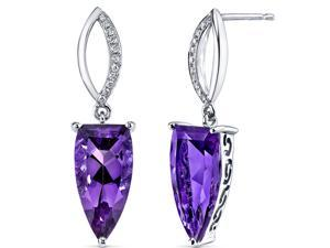 14 Karat White Gold Amethyst Diamond Earrings 5.29 carat total weight