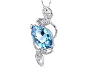 14k White Gold 3.17 carats Swiss Blue Topaz Diamond Pendant