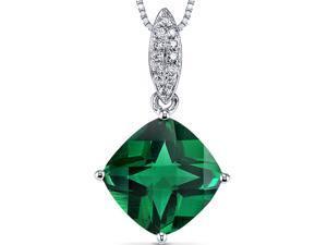14 Karat White Gold 2.5 carats Emerald and Diamond Pendant