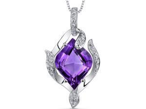 14 Karat White Gold 3 carats Amethyst and Diamond Pendant