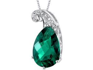14k White Gold 2.58 carats created Emerald Diamond Pendant