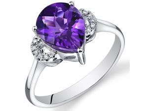 14 Karat White Gold 2 cts Amethyst and Diamond Ring