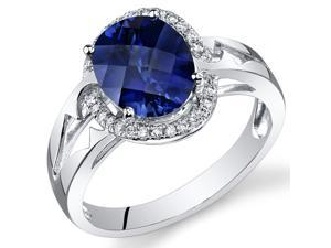 14 Karat White Gold 3.75 cts Blue Sapphire and Diamond Ring