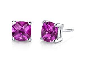 14 kt White Gold Cushion Cut 2.50 ct Pink Sapphire Earrings