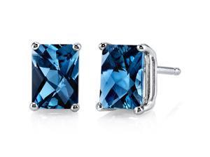 14 kt White Gold Radiant Cut 2.25 ct London Blue Topaz Earrings