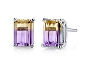 14 kt White Gold Emerald Cut 2.00 ct Ametrine Earrings