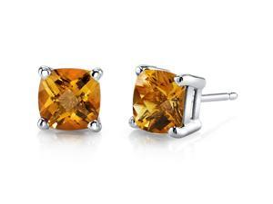 14 kt White Gold Cushion Cut 1.75 ct Citrine Earrings