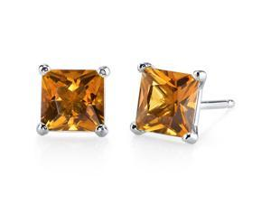 14 kt White Gold Princess Cut 2.00 ct Citrine Earrings