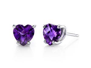 14 kt White Gold Heart Shape 1.50 ct Amethyst Earrings