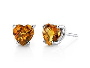 14 kt White Gold Heart Shape 1.50 ct Citrine Earrings