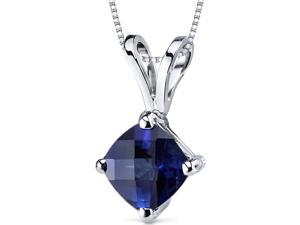 14 kt White Gold Cushion Cut 1.00 ct Blue Sapphire Pendant