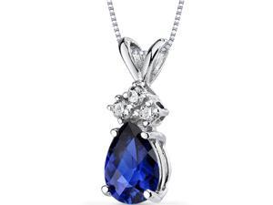 14 kt White Gold Pear Shape 1.00 ct Blue Sapphire Pendant