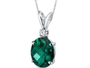 14 kt White Gold Oval Shape 2.50 ct Emerald Pendant