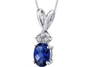 14 kt White Gold Oval Shape 1.00 ct Blue Sapphire Pendant