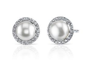 Oravo SE8338 7.5mm Freshwater White Pearl Earrings in Sterling Silver