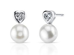 Oravo SE8350 8.5mm Freshwater White Pearl Earrings in Sterling Silver