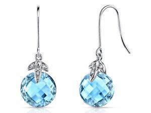 14 kt White Gold 9.25 Carats Swiss Blue Topaz Diamond Earrings