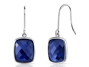 14 kt White Gold 11.50 Carats Blue Sapphire Earrings