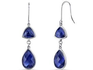14 kt White Gold 11.75 Carats Blue Sapphire Earrings